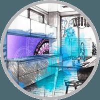 Кухонные фартуки - печать на стекле в Сочи в РПК Осьминог